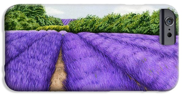 Agriculture Drawings iPhone Cases - Lavender Fields iPhone Case by Sarah Batalka