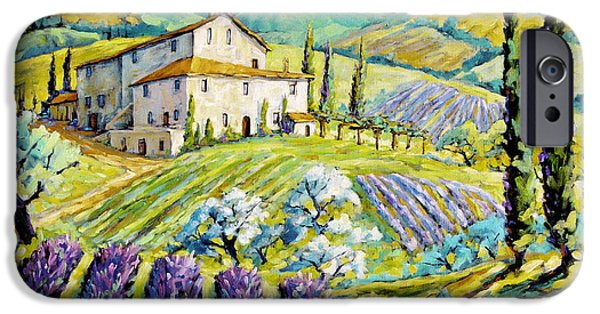 Canadiens Paintings iPhone Cases - Lavender Hills Tuscany by Prankearts Fine Arts iPhone Case by Richard T Pranke