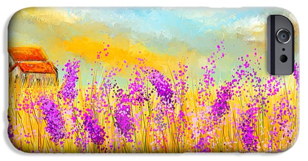 Purple And Green iPhone Cases - Lavender Memories - Lavender Field Art iPhone Case by Lourry Legarde