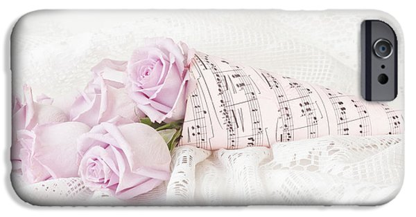Sheets iPhone Cases - Lavender Roses And Music iPhone Case by Sandra Foster