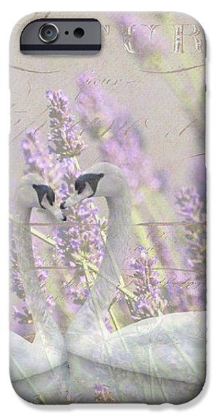 Lavender Swans Zen  Love iPhone Case by ArtyZen Studios