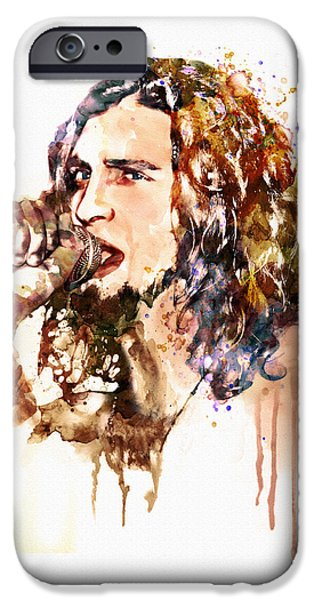 Staley Mixed Media iPhone Cases - Layne Staley singing in watercolor iPhone Case by Marian Voicu