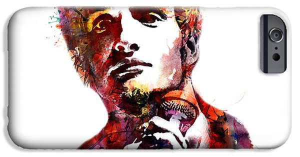 Recently Sold -  - Celebrities Art iPhone Cases - Layne Staley watercolor iPhone Case by Marian Voicu