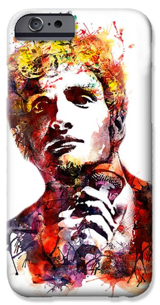 Red Rock Mixed Media iPhone Cases - Layne Staley watercolor iPhone Case by Marian Voicu