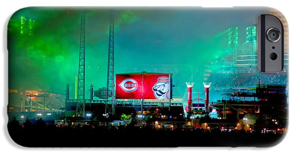 Allstar iPhone Cases - Laser Green Smoke and Reds stadium iPhone Case by Randall Branham