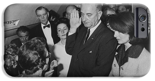 First Lady iPhone Cases - LBJ Taking The Oath On Air Force One iPhone Case by War Is Hell Store