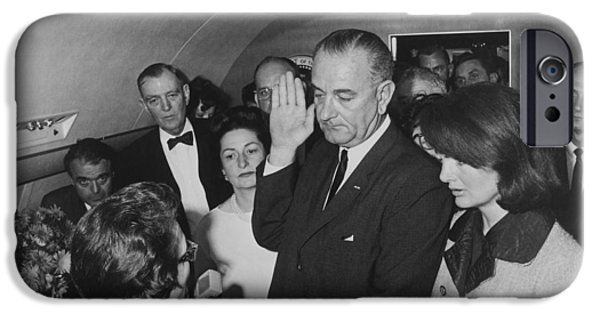 Best Sellers -  - First Lady iPhone Cases - LBJ Taking The Oath On Air Force One iPhone Case by War Is Hell Store