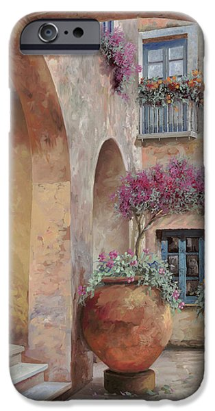 Vase iPhone Cases - Le Arcate In Cortile iPhone Case by Guido Borelli