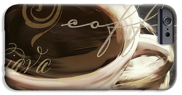 Espresso Paintings iPhone Cases - Le Cafe Dark iPhone Case by Mindy Sommers