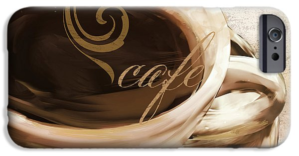Espresso Paintings iPhone Cases - Le Cafe Light iPhone Case by Mindy Sommers