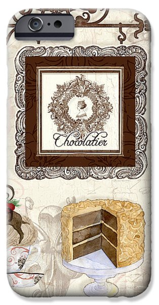 Hand-watercolored iPhone Cases - Le Chcolatier - Paris Eiffel Tower Chocolate Perfection iPhone Case by Audrey Jeanne Roberts