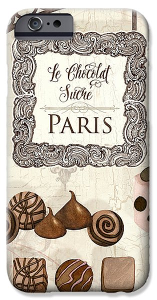 Decorating Mixed Media iPhone Cases - Le Chocolat Sucre Paris - Sweet Chocolate Paris iPhone Case by Audrey Jeanne Roberts