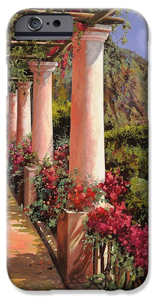 le colonne e la buganville iPhone Case by Guido Borelli