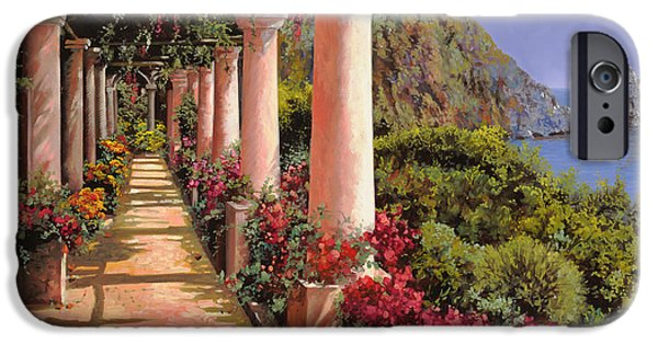 Landscape. Scenic iPhone Cases - Le Colonne E La Buganville iPhone Case by Guido Borelli