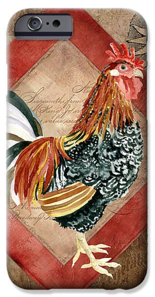 Barns Mixed Media iPhone Cases - Le Coq - Greet the Day iPhone Case by Audrey Jeanne Roberts