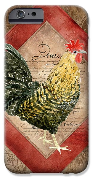 Timeless Design Paintings iPhone Cases - Le Coq - Morning Call iPhone Case by Audrey Jeanne Roberts