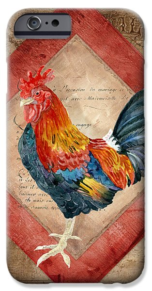 Barns Mixed Media iPhone Cases - Le Coq - Timeless Rooster  iPhone Case by Audrey Jeanne Roberts