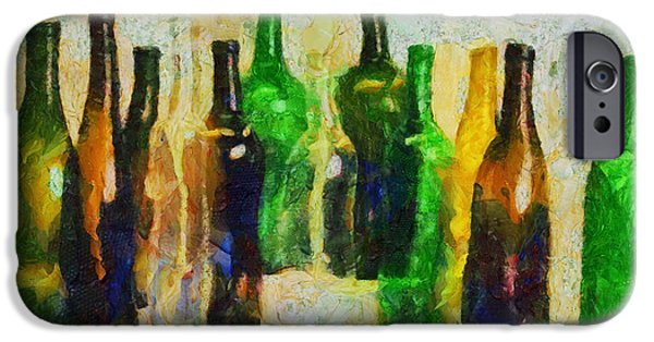 Wine Bottles iPhone Cases - Le debut de ses souvenirs iPhone Case by Sir Josef  Putsche