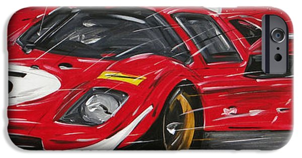 Michael Paintings iPhone Cases - Le Man Ferrari 5 iPhone Case by Roberto Muccilo
