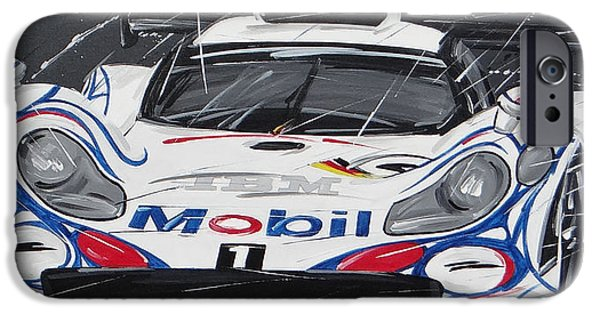 Roberto Paintings iPhone Cases - Le Mans Porsche 911 GT 1995 iPhone Case by Roberto Muccilo