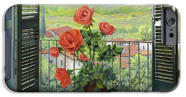 Vase iPhone Cases - Le Persiane Sulla Valle iPhone Case by Guido Borelli