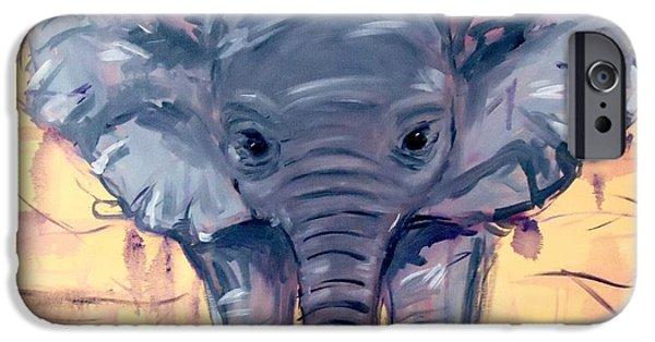 Elephants iPhone Cases - Le Petit Elefant iPhone Case by Devin Patrick