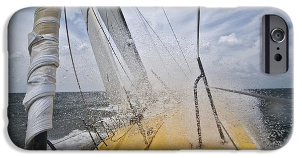 Sailboats iPhone Cases - Le Pingouin Charging Upwind iPhone Case by Dustin K Ryan