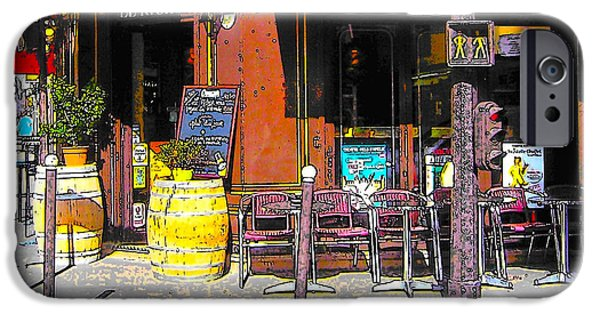 Table Wine Digital iPhone Cases - Le Richer cafe bar in Paris iPhone Case by Jan Matson