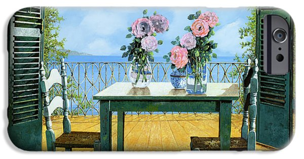 Mornings iPhone Cases - Le Rose E Il Balcone iPhone Case by Guido Borelli