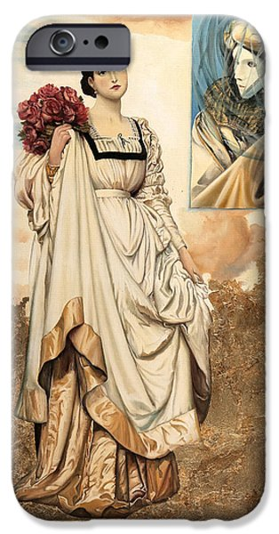 Lady Paintings iPhone Cases - Le Rose Rosse iPhone Case by Danka Weitzen