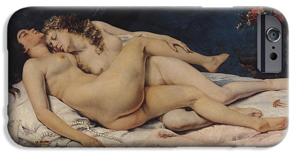 Vase iPhone Cases - Le Sommeil iPhone Case by Gustave Courbet