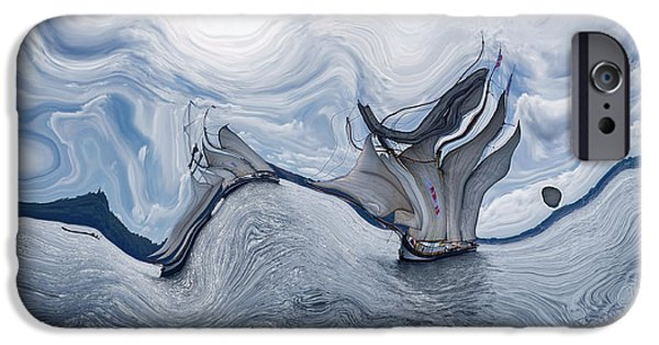 Abstract Realism iPhone Cases - Le Vent dans les Voiles - 06bl - Sea Boat Series iPhone Case by Variance Collections