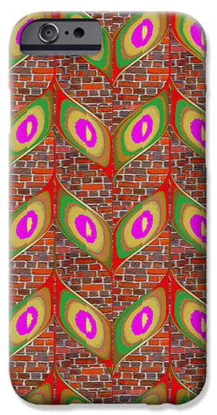 Christmas Greeting iPhone Cases - Leaf design pattern on brick wall abstract modern design gallery art NavinJoshi FineArtAmerica Pixel iPhone Case by Navin Joshi