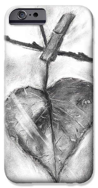 Earth Tones Drawings iPhone Cases - Leaf in the Wind iPhone Case by Leena Kewlani