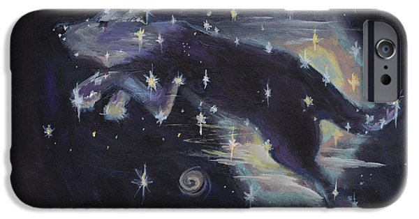 Constellation Paintings iPhone Cases - Leaping dog constellation iPhone Case by Robin Wiesneth