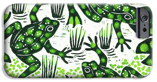Amphibians iPhone Cases - Leaping Frogs iPhone Case by Nat Morley