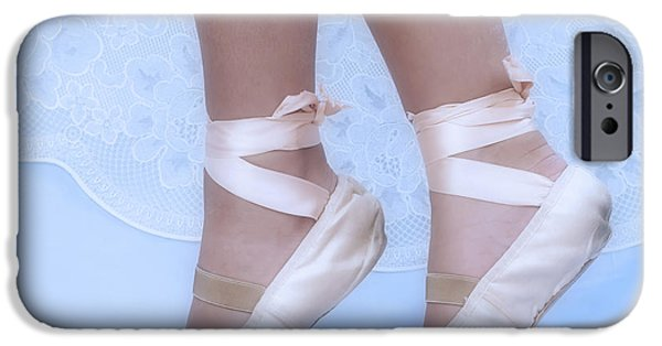 Ballet Dancers iPhone Cases - Learning to walk in dance world with pink pointe shoes iPhone Case by Pedro Cardona