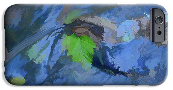Creek Mixed Media iPhone Cases - Leaves Afloat iPhone Case by Bonnie Bruno