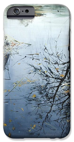Reflecting Trees iPhone Cases - Leaves and Reeds on Tree Reflection iPhone Case by Calum McClure