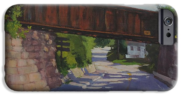 Maine Roads Paintings iPhone Cases - Leaving Hallowell iPhone Case by Bill Tomsa