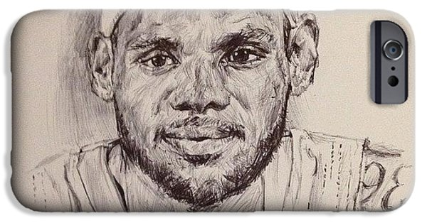 Lebron Drawings iPhone Cases - Lebron James iPhone Case by Billy Jackson