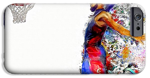 Dunk iPhone Cases - Lebron James Dunk in Color Painting iPhone Case by Andres Ramos