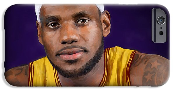 Lebron Digital iPhone Cases - LeBron James iPhone Case by Rick Mosher