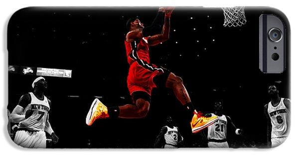 Dwyane Wade iPhone Cases - Lebron James Showtime  iPhone Case by Brian Reaves