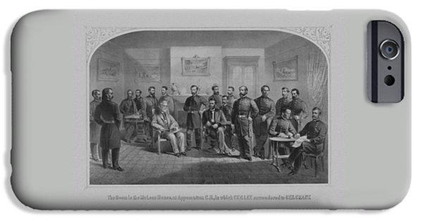 American History iPhone Cases - Lee Surrendering To Grant At Appomattox iPhone Case by War Is Hell Store