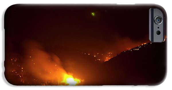 Colorado Fires iPhone Cases - Lefthand Canyon Wildfire flare up Boulder County Colorado iPhone Case by James BO  Insogna