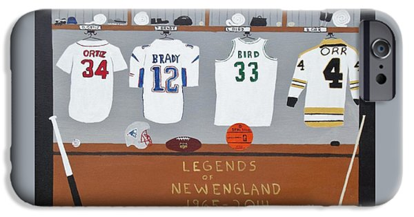 Hockey Paintings iPhone Cases - Legends of New England iPhone Case by Dennis ONeil