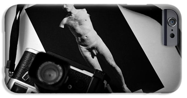 Monotone Pyrography iPhone Cases - Leica M6 and him. iPhone Case by Cyril Jayant