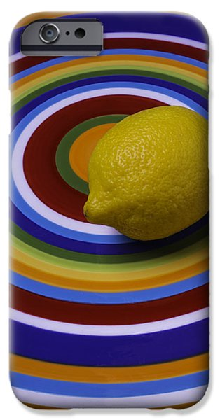 Lemon iPhone Cases - Lemmon On Circle Plate iPhone Case by Garry Gay