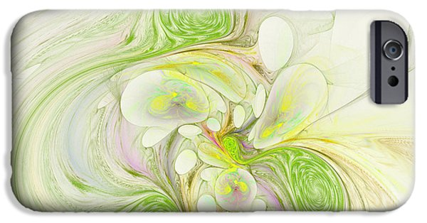 Generative iPhone Cases - Lemon Lime Curly iPhone Case by Deborah Benoit